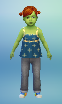 This is Cherish Marshall, the toddler daughter of Lyric Marshall. She has bright red hair in two ponytails, light green skin, and is wearing a blue tank top, grey jeans, and brightly coloured trainers.