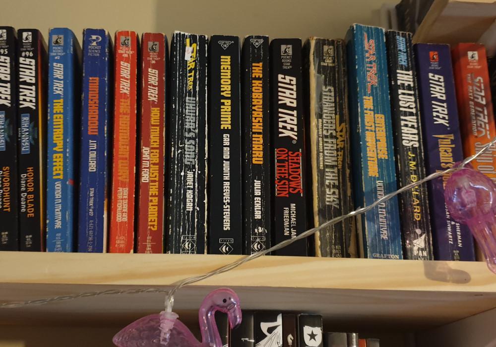 A collection of Star Trek novels on a bookshelf