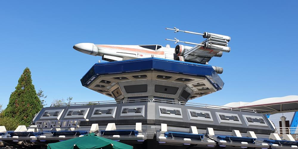 X-Wing in front of Star Tours