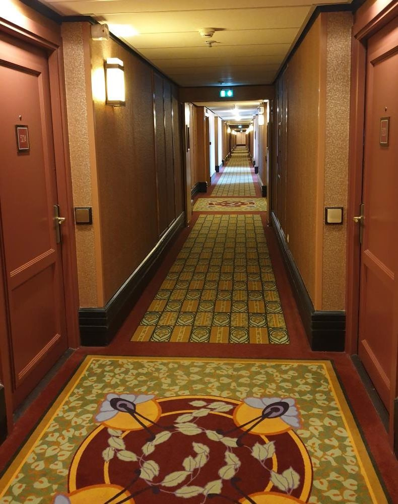 The hallway of the Sequoia Lodge hotel
