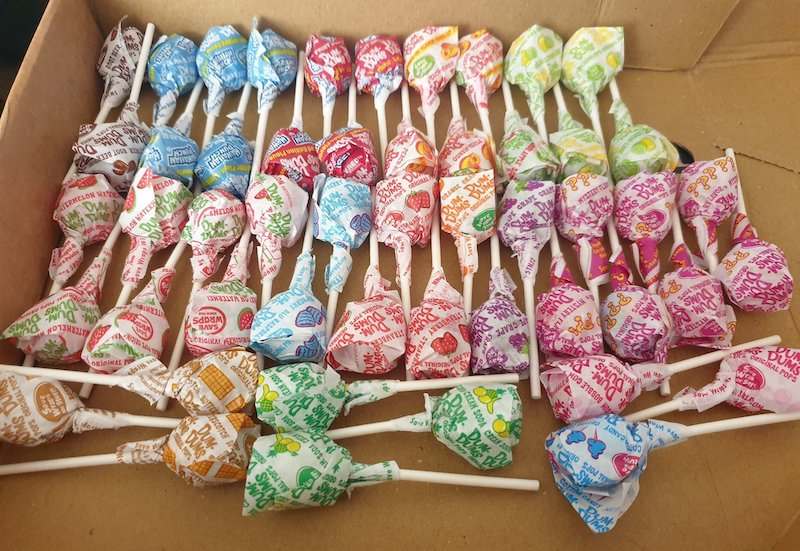 Dum-Dum Lollipops organised by flavour, in order of preference.